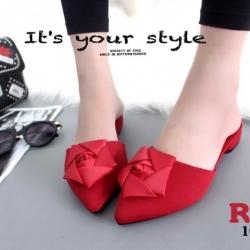 พร้อมส่ง รองเท้าส้นเตี้ยเปิดส้นสีแดง หัวแหลม แต่งกุหลาบ แฟชั่นเกาหลี [สีแดง ]