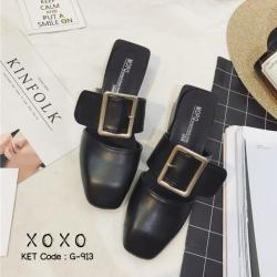 พร้อมส่ง รองเท้าส้นเตี้ยสีดำ แต่งหัวเข็มขัด แฟชั่นฮิตมากในเกาหลี แฟชั่นเกาหลี [สีดำ ]
