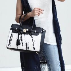 กระเป๋าสะพายแฟชั่น กระเป๋าสะพายข้างผู้หญิง Birkin ลายหินอ่อน [สีดำ ]