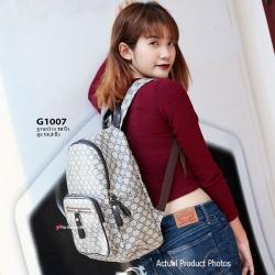 กระเป๋าเป้ผู้หญิง กระเป๋าสะพายหลังแฟชั่น ผ้าทอลาย GC [สีน้ำตาล ]