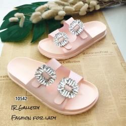รองเท้าแตะลำลองแบบสวม เพชรสี่เหลี่ยม 2 สาย 10542-ชมพู (สีชมพู)
