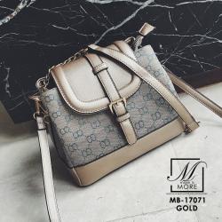 กระเป๋าสะพายกระเป๋าถือ แฟชั่นนำเข้าสุดหรู ทรงฝาปิดสไตล์แบรนด์ดัง MB-17071-GLD [สีทอง]