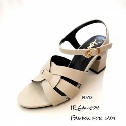 รองเท้าส้นตันรัดข้อสีครีม สไตล์ FT513-ครีม