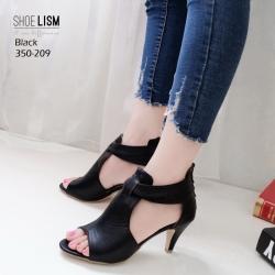 รองเท้าส้นสูงสีดำ ซิปหลัง LB-350-209-ดำ