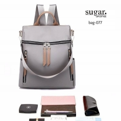 กระเป๋าเป้ผู้หญิงสะพายแบบน่ารัก สะพายได้หลายแบบ BAG-077-เทา (สีเทา)