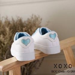 พร้อมส่ง ผ้าใบ ขอบสี แต่งปักรูปหัวใจ G-1307-BLU [สีน้ำเงิน]