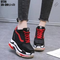 รองเท้าผ้าใบเสริมส้นสีแดง รองเท้าผ้าใบเสริมส้นสูง2.5นิ้ว