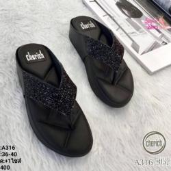 พร้อมส่ง รองเท้าสุขภาพสไตล์แบรนด์ดัง หูคีบ A316-BLK [สีดำ]