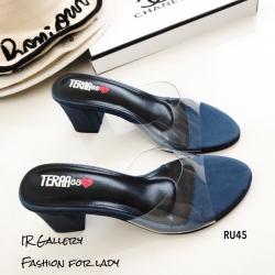รองเท้าส้นสูงแบบสวมสีน้ำเงิน พลาสติกใสนิ่ม RU45-น้ำเงิน