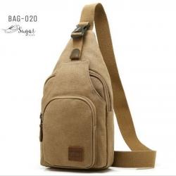 พร้อมส่ง กระเป๋าคาดอกผู้ชายผ้าแคนวาส-BAG-020 [สีแทน]