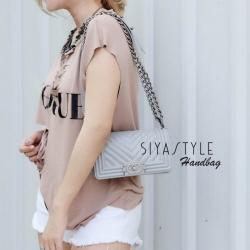 กระเป๋าสะพายแฟชั่น กระเป๋าสะพายข้างผู้หญิง Chanel Boy Toy [สีเทา ]