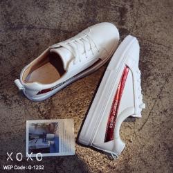 พร้อมส่ง รองเท้าผ้าใบคาดข้างเมทัลลิค G-1202-RED [สีแดง]