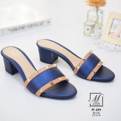 พร้อมส่ง รองเท้าส้นตันเปิดส้นสีน้ำเงิน style แบรนด์ valentino แฟชั่นเกาหลี [สีน้ำเงิน ]