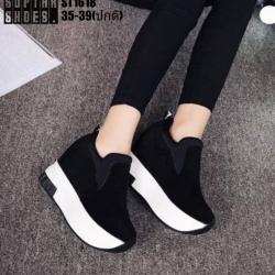 รองเท้าผ้าใบสีดำ ST1618-BLK