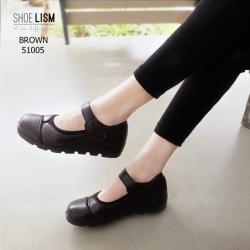 รองเท้าคัทชูผู้หญิง หนังนิ่ม ขอบยางยืดกันกัด สายรัดเมจิกเทป [สีน้ำตาล ]