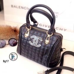 กระเป๋าถือผู้หญิง กระเป๋าสะพายข้างผู้หญิง หนังนิ่มงานพรีเมี่ยมเดินด้ายลายตาราง Style Chanel งานTop Mirror [สีดำ ]