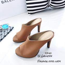 รองเท้าส้นสูงวัสดุหนังนิ่มเปิดหน้าเท้า 939-63-ตาล (สีน้ำตาล)