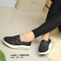 รองเท้าผ้าใบผ้าลูกไม้ Fitness Vintage Soft [สีดำ ]