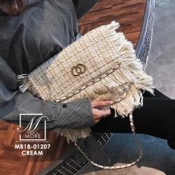 กระเป๋าสะพายกระเป๋าถือ ครัชแฟชั่นงานนำเข้าสไตล์แบรนด์ดังสุดหรู MB18-01207-CRM [สีครีม]