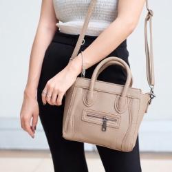 กระเป๋าสะพายแฟชั่น กระเป๋าสะพายข้างผู้หญิง งานซิลิโคน ซีลีนคลาสสิค (CELINE CLASSIC) อะไหล่เงิน [สีครีม ]