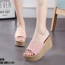 รองเท้าสวมส้นเตารีดสีชมพู LB-ST6-PNK