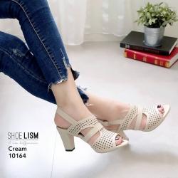 รองเท้าส้นสูงรัดส้นสีครีม LB-10164-ครีม