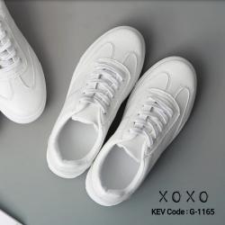 พร้อมส่ง รองเท้าผ้าใบสไตล์หนัง คล้ายหนังแกะ ด้านในน้ำตาล G-1165-WHI [สีขาว]