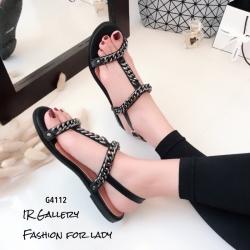 รองเท้าแตะโซ่คาดหน้า G4112-ดำ (สีดำ)