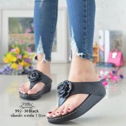 รองเท้าแตะพื้นสุขภาพสีดำ งานเย็บหน้ากุหลาบ 992-30-ดำ