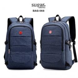 แบบมาใหม่ กระเป๋าเป้ผู้ชาย ดีไซน์สุดเท่ห์ BAG-068-น้ำเงิน (สีน้ำเงิน)