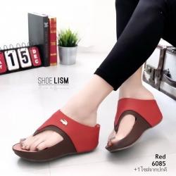 รองเท้าเเตารีดสีแดง หูคีบลาคอส เวอร์ชั่นใหม่ ใส่สบายนิ่มฝุดๆ 6085-แดง