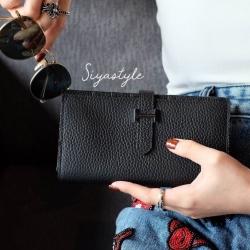 พร้อมส่ง กระเป๋าตังค์ผู้หญิง Wallet leather [สีดำ]