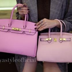พร้อมส่ง กระเป๋าสะพายข้างผู้หญิง Birkin PU 25 cm [สีชมพู]
