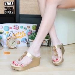 พร้อมส่ง รองเท้าเพื่อสุขภาพ พียูหนีบส้นโฟม V2063-GLD [สีทอง]