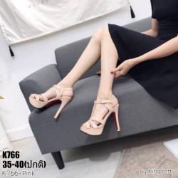 รองเท้าส้นสูงสีชมพู งานสไตล์ YSL หนังแก้ว LB-K766-PNK