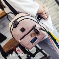 กระเป๋าเป้ผู้หญิง กระเป๋าสะพายหลังแฟชั่น หนังPUนิ่ม ปั้มลาย [สีชมพู ]