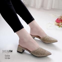 รองเท้าหัวแหลมสีทอง สไตล์ซาร่าห์ LB-10184-ทอง