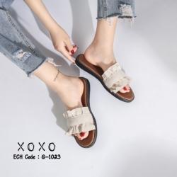 พร้อมส่ง รองเท้าแตะผู้หญิง หน้าขยัก G-1023-APR [สีแอปริคอท]
