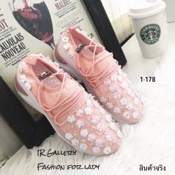 พร้อมส่ง รองเท้าผ้าใบยางยืด คาดดอกไม้ 1-178-ชมพู [สีชมพู]