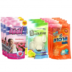 """""""ชุดสุดคุ้ม สะอาดครบเซท"""" น้ำยาซักผ้า+ปรับผ้านุ่ม+น้ำยาล้างจาน"""