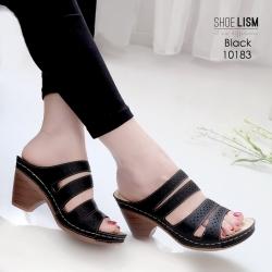 รองเท้าสุขภาพสีดำ พื้นนุ่ม LB-10183-ดำ