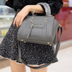 กระเป๋าสะพายแฟชั่น กระเป๋าสะพายข้างผู้หญิง ถือสวยๆก็ได้อะไหล่สีทอง [สีเทาเข้ม ]