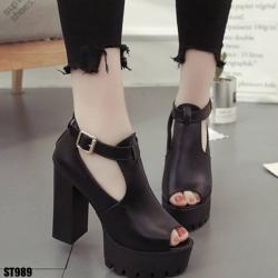 รองเท้าคัชชูขัดข้อสีดำ รองเท้าคัชชูขัดข้อสูง4.5นิ้ว