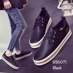 พร้อมส่ง รองเท้าผ้าใบแฟชั่นงานหนังอย่างดี GS6071C3-BLK [สีดำ]