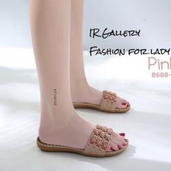รองเท้าลำลองแบบสวมสีชมพู วัสดุหนังนิ่ม B688-3-ชมพู