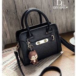 กระเป๋าถือแฟชั่น กระเป๋าสะพายข้างผู้หญิง สีพาสเทล สวยหวาน [สีดำ ]