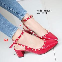 รองเท้าส้นตันรัดส้น หัวแหลม Chunky Style valentino [สีแดง ]
