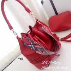 กระเป๋าสะพายแฟชั่น กระเป๋าสะพายข้างผู้หญิง หนังพียูคุณภาพทรงขนมจีบรูด ฉลุลาย Style Bohemian Size M [สีแดง ]