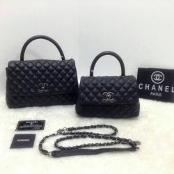 กระเป๋าคลัทช์ กระเป๋าถือแฟชั่น ลายหนังสาน Chanel COCO Handle'10 [สีดำ ]
