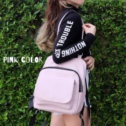 กระเป๋าเป้ผู้หญิง กระเป๋าสะพายหลังแฟชั่น สะพายข้างได้ แบบแพ็คเป็นเป้ได้ ซิปใหญ่ [สีชมพู ]